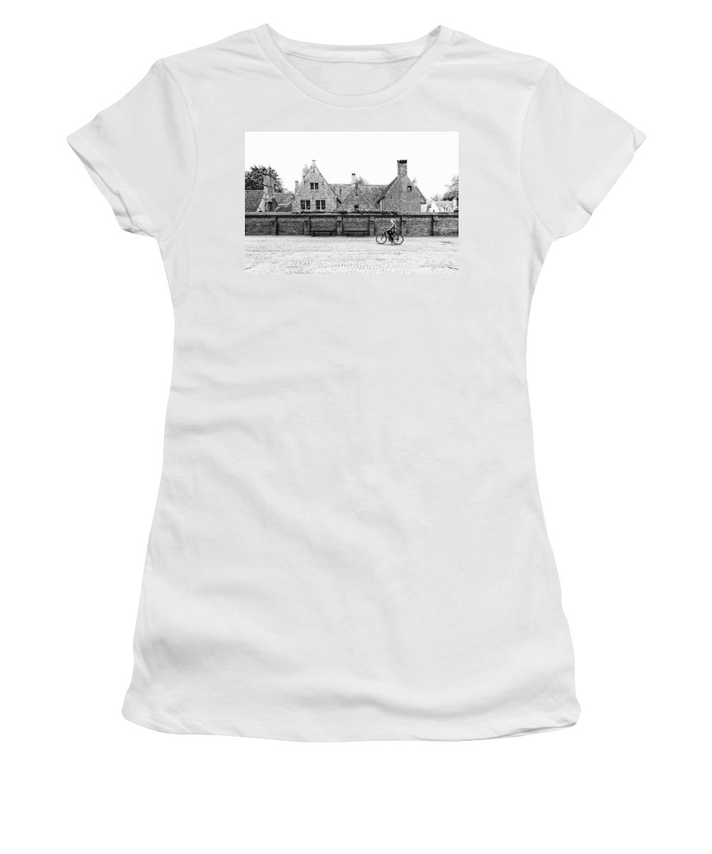 Bruges Women's T-Shirt featuring the photograph Bruges Cyclist by Lauri Novak
