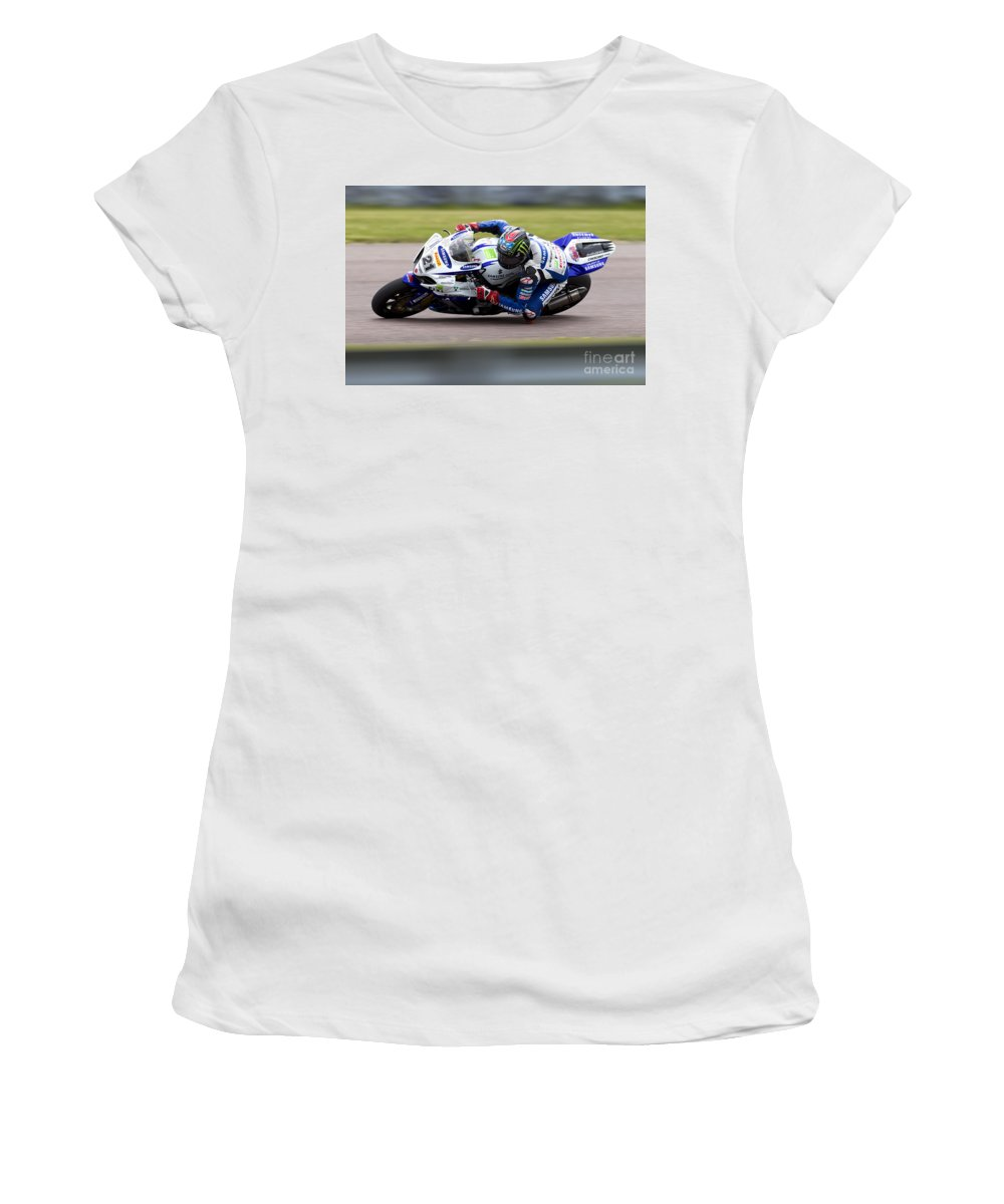 Superbike Women's T-Shirt featuring the photograph Bsb Superbike Rider John Hopkins by Andrew Harker