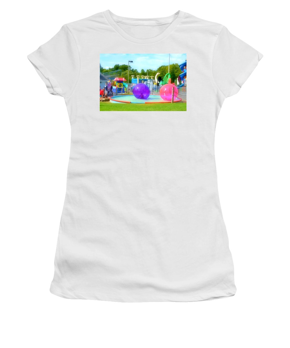 Bubble Ball Women's T-Shirt featuring the painting Bubble Ball 4  by Jeelan Clark