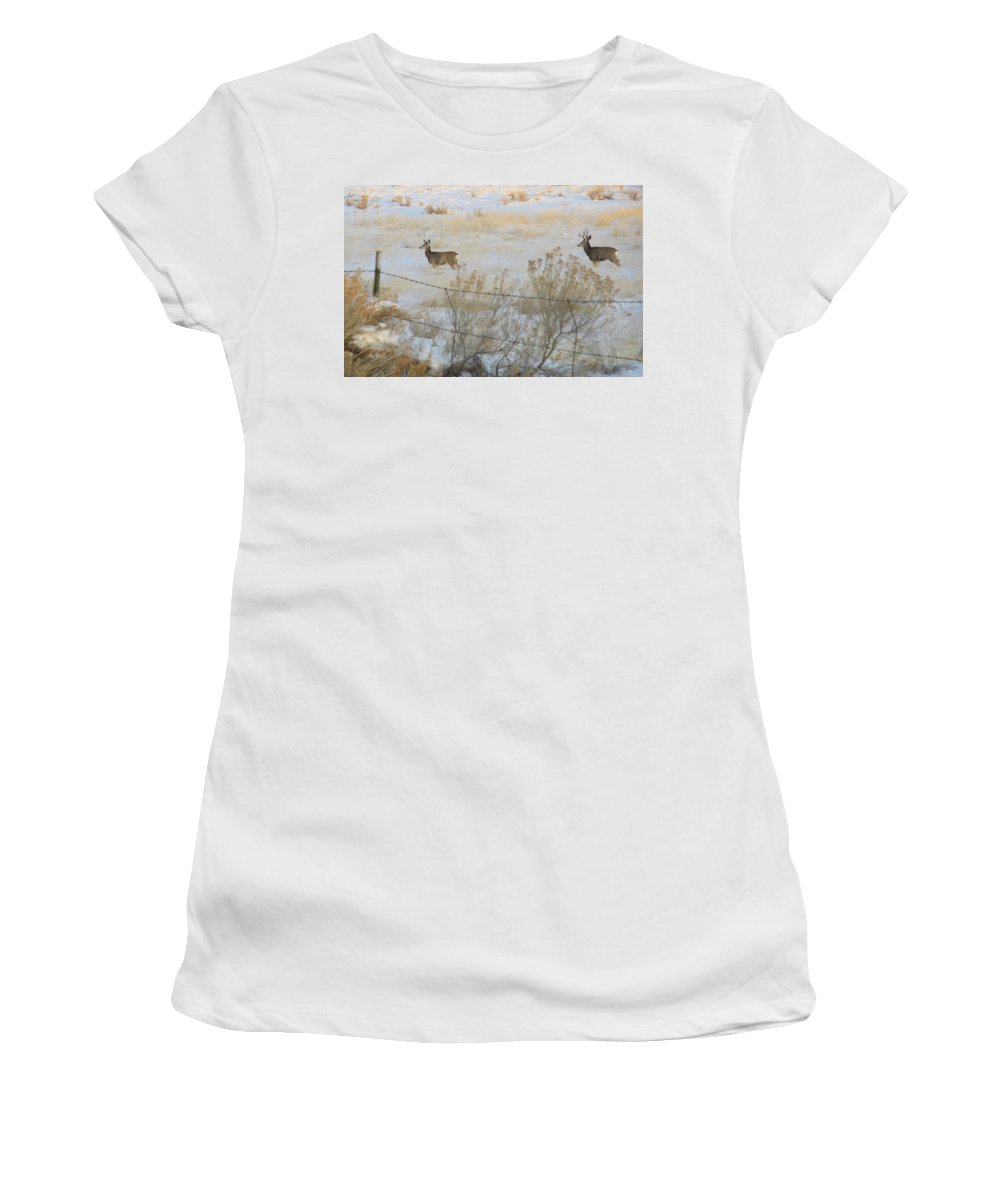 Buck Women's T-Shirt (Athletic Fit) featuring the photograph Buck And Doe by Annie Adkins