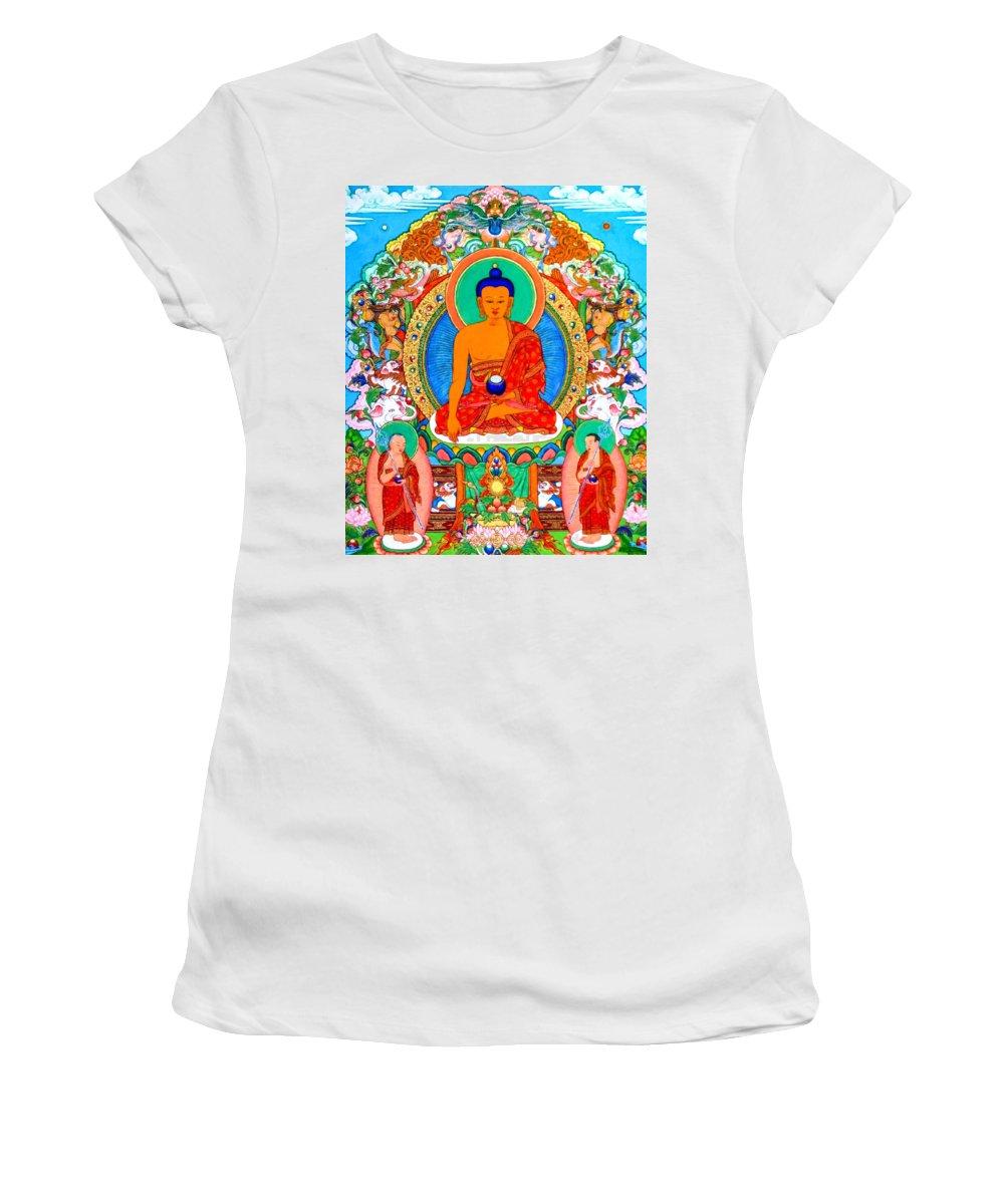 Buddha Shakyamuni Women's T-Shirt (Athletic Fit) featuring the photograph Buddha Shakyamuni 1 by Jeelan Clark