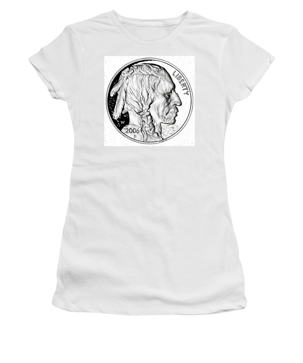 United States Mint Women's T-Shirt (Athletic Fit) featuring the drawing Buffalo Nickel by Fred Larucci