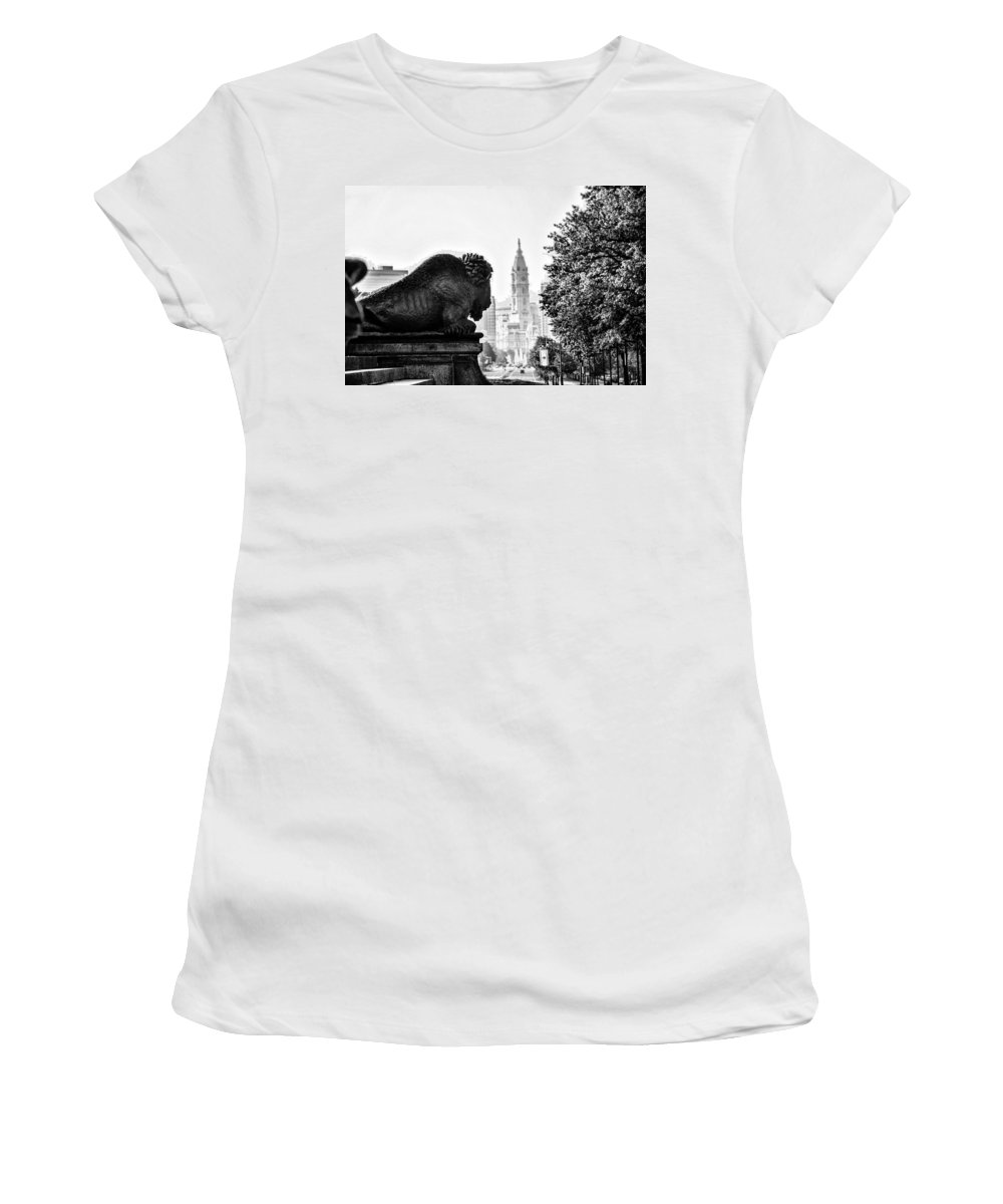 Buffalo Women's T-Shirt (Athletic Fit) featuring the photograph Buffalo Statue On The Parkway by Bill Cannon