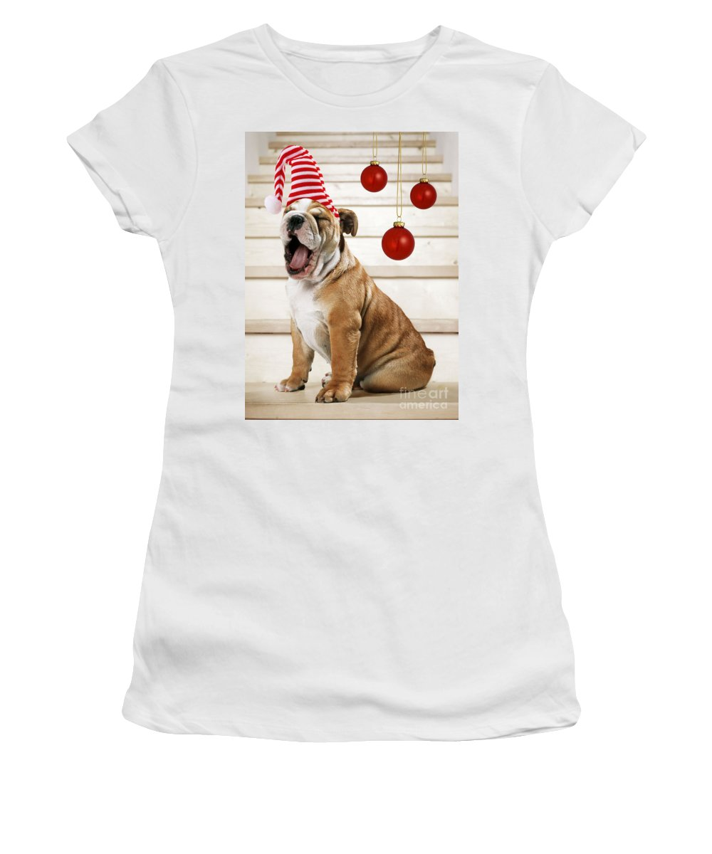 Bulldog Women's T-Shirt (Athletic Fit) featuring the photograph Holiday Bulldog Puppy by John Daniels Paul Brown Jeff Ried