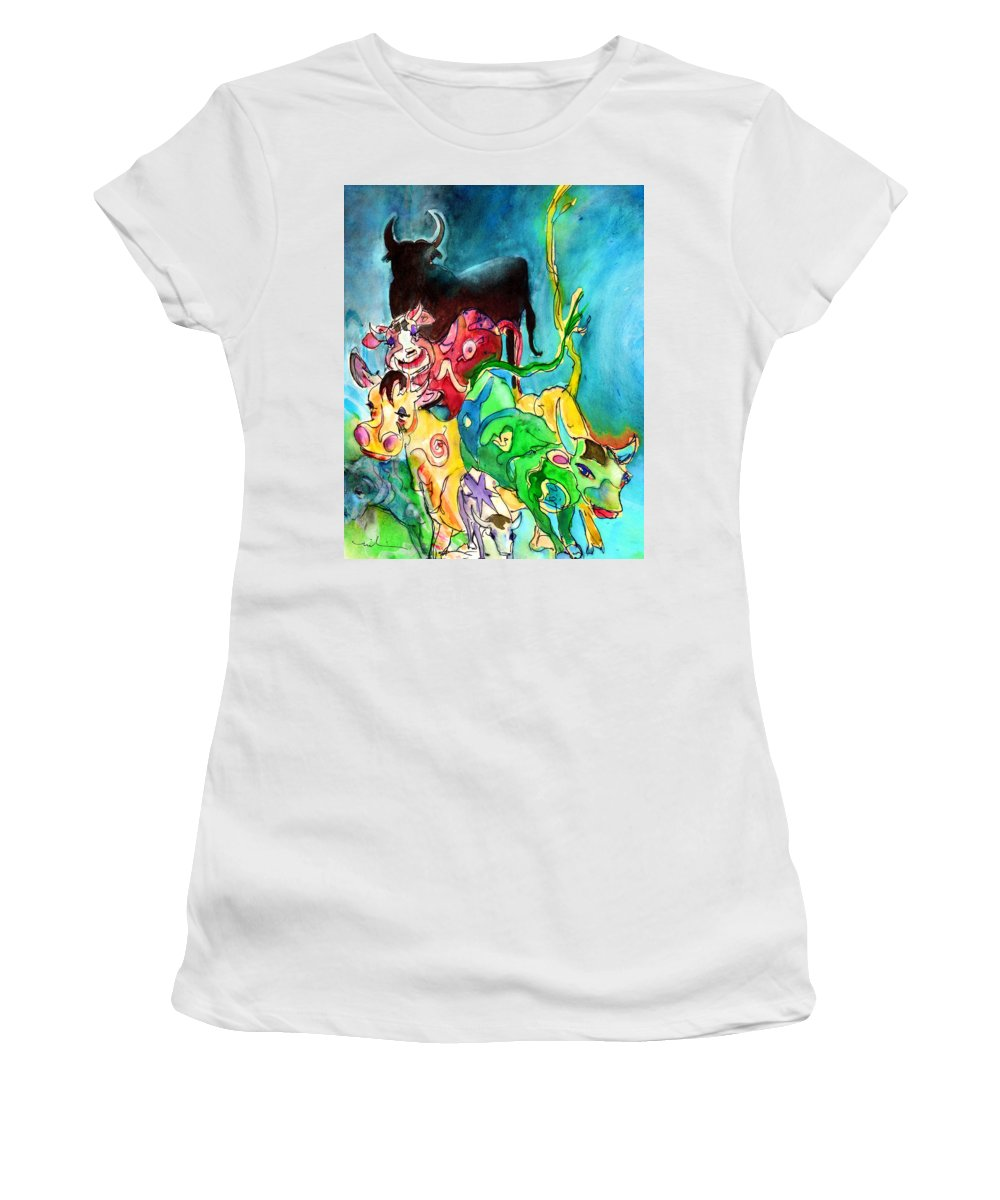 Travel Women's T-Shirt (Athletic Fit) featuring the painting Bulls From Toledo by Miki De Goodaboom
