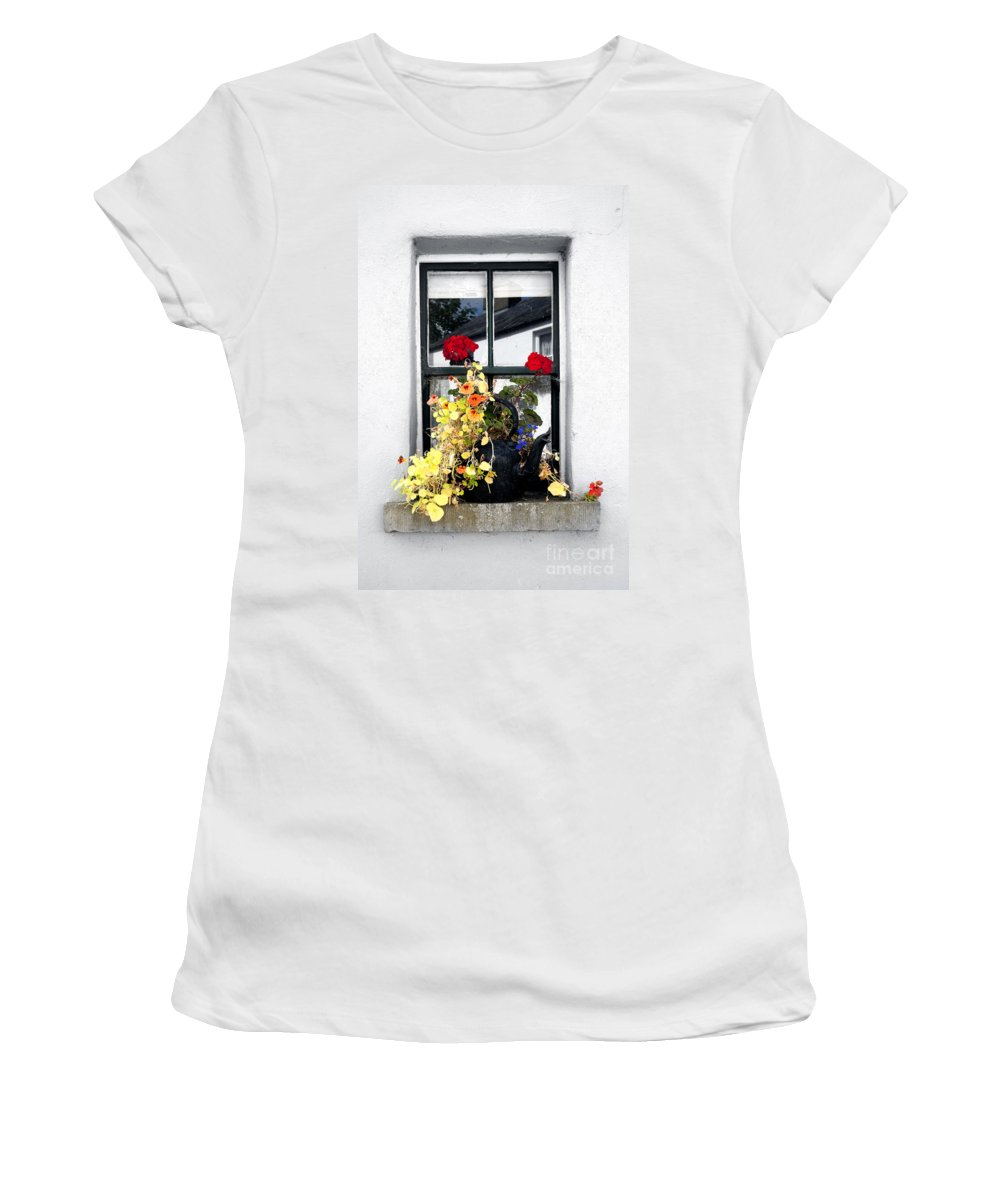 Ireland Photographs Women's T-Shirt (Athletic Fit) featuring the digital art Bunratty Window by Danielle Summa
