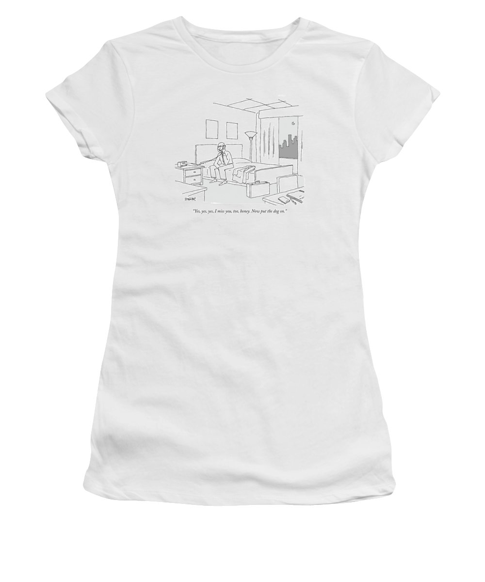 Relationships Pets Travel Problems  (businessman Sitting On A Bed In Hotel Room Talking On The Phone.) 121246 Jzi Jack Ziegler Topziegler Women's T-Shirt featuring the drawing Businessman Sitting On A Bed In Hotel Room by Jack Ziegler