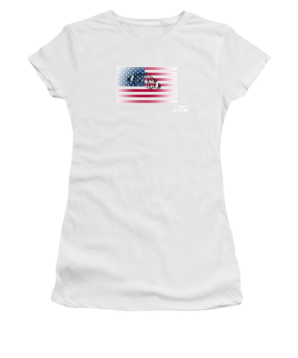 Butterfly Women's T-Shirt featuring the photograph Butterfly Embedded With Usa National Flag by Image World