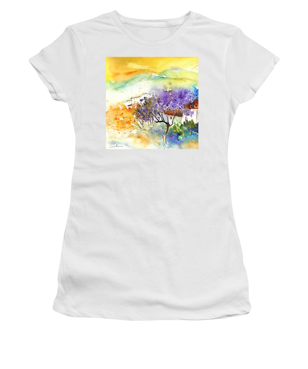 Watercolour Women's T-Shirt featuring the painting By Teruel Spain 01 by Miki De Goodaboom