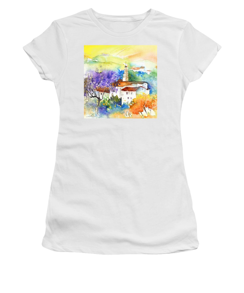 Travel Women's T-Shirt featuring the painting By Teruel Spain 02 by Miki De Goodaboom