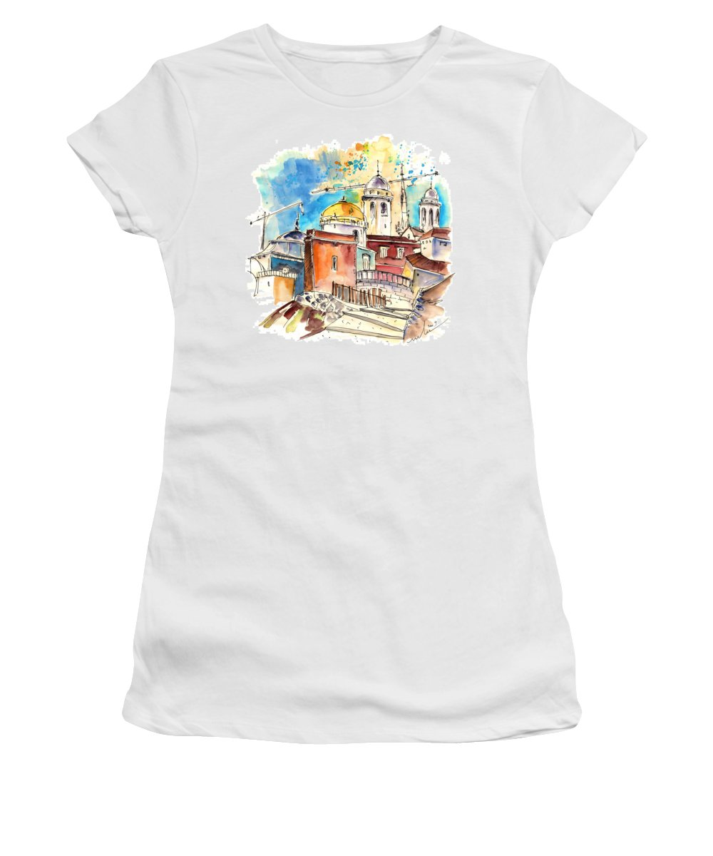 Travel Women's T-Shirt (Athletic Fit) featuring the painting Cadiz Spain 02 by Miki De Goodaboom