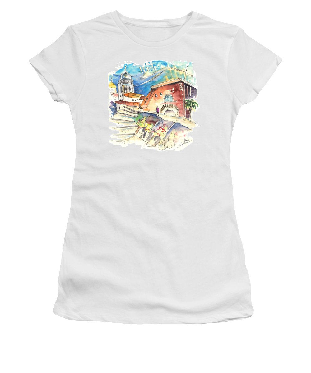Travel Women's T-Shirt (Athletic Fit) featuring the painting Cadiz Spain 03 by Miki De Goodaboom