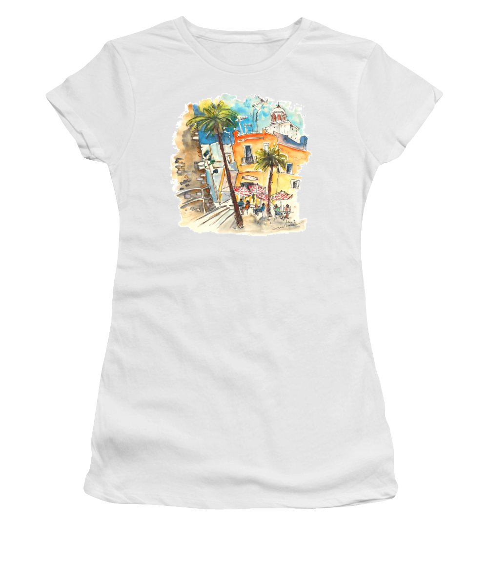 Travel Women's T-Shirt (Athletic Fit) featuring the painting Cadiz Spain 04 by Miki De Goodaboom