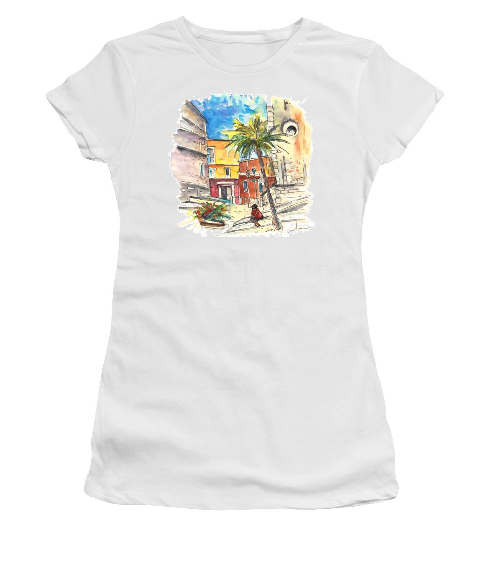 Travel Women's T-Shirt (Athletic Fit) featuring the painting Cadiz Spain 05 by Miki De Goodaboom