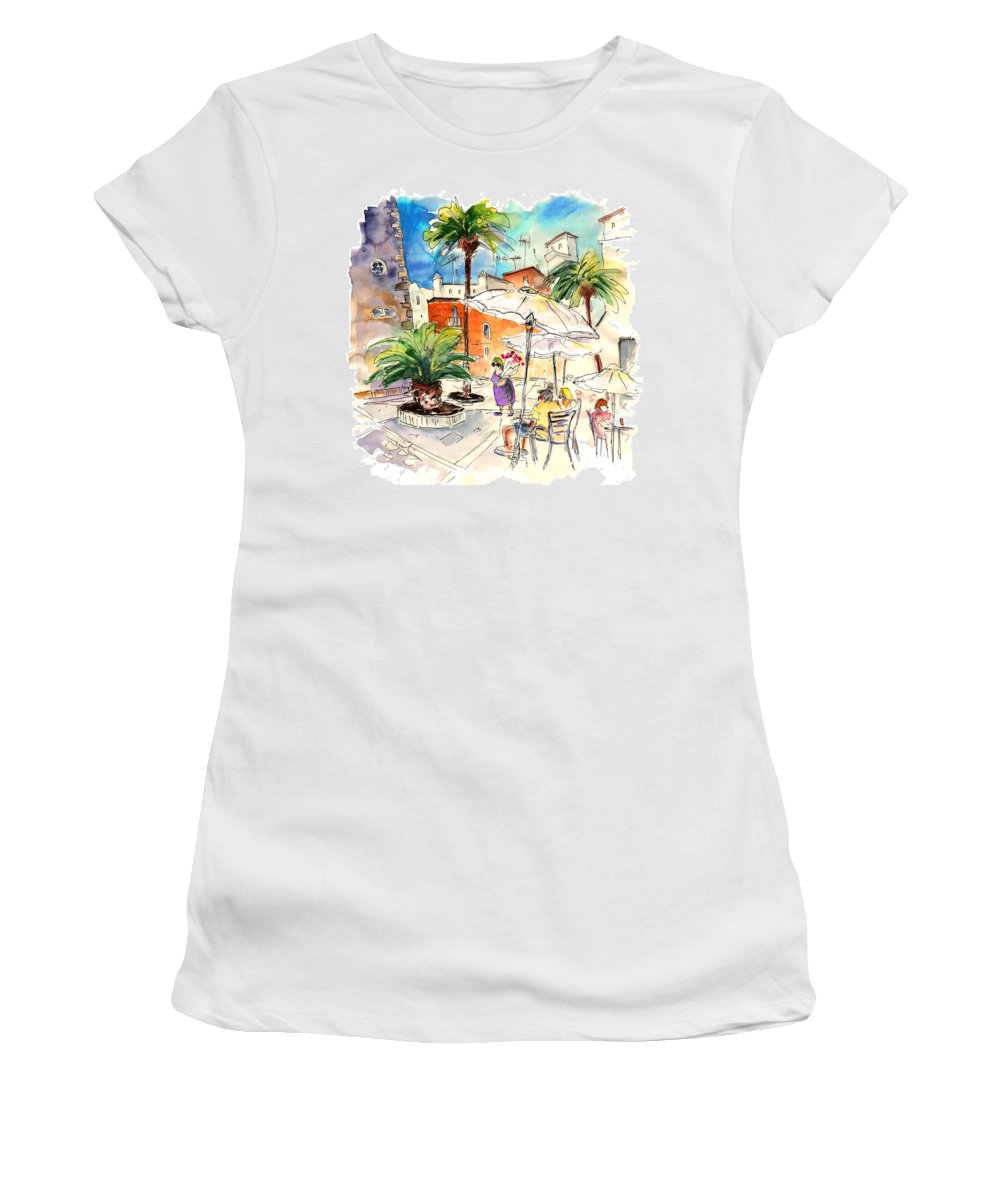 Travel Women's T-Shirt (Athletic Fit) featuring the painting Cadiz Spain 13 by Miki De Goodaboom