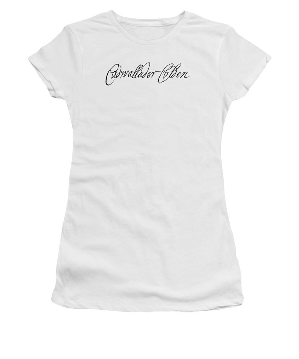 18th Century Women's T-Shirt (Athletic Fit) featuring the painting Cadwallader Colden (1688-1776) by Granger