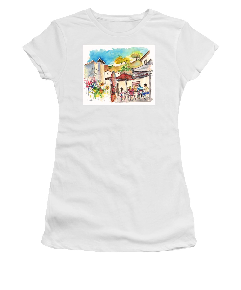 Portugal Women's T-Shirt featuring the painting Cafe In Barca De Alva by Miki De Goodaboom