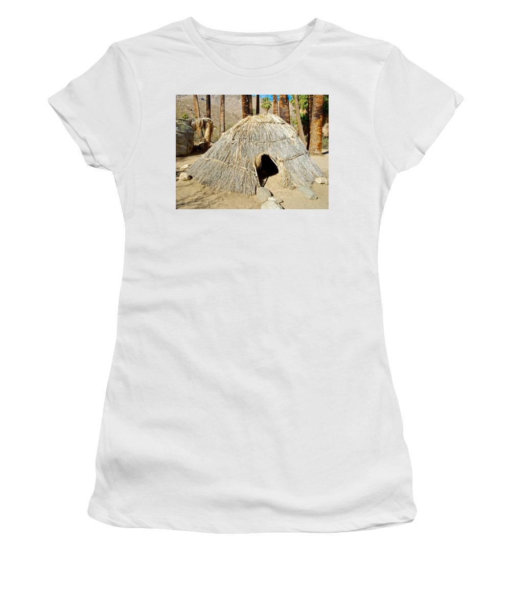Cahuilla Indian Dwelling In Andreas Canyon In Indian Canyons Women's T-Shirt (Athletic Fit) featuring the photograph Cahuilla Indian Dwelling In Andreas Canyon In Indian Canyons-ca by Ruth Hager