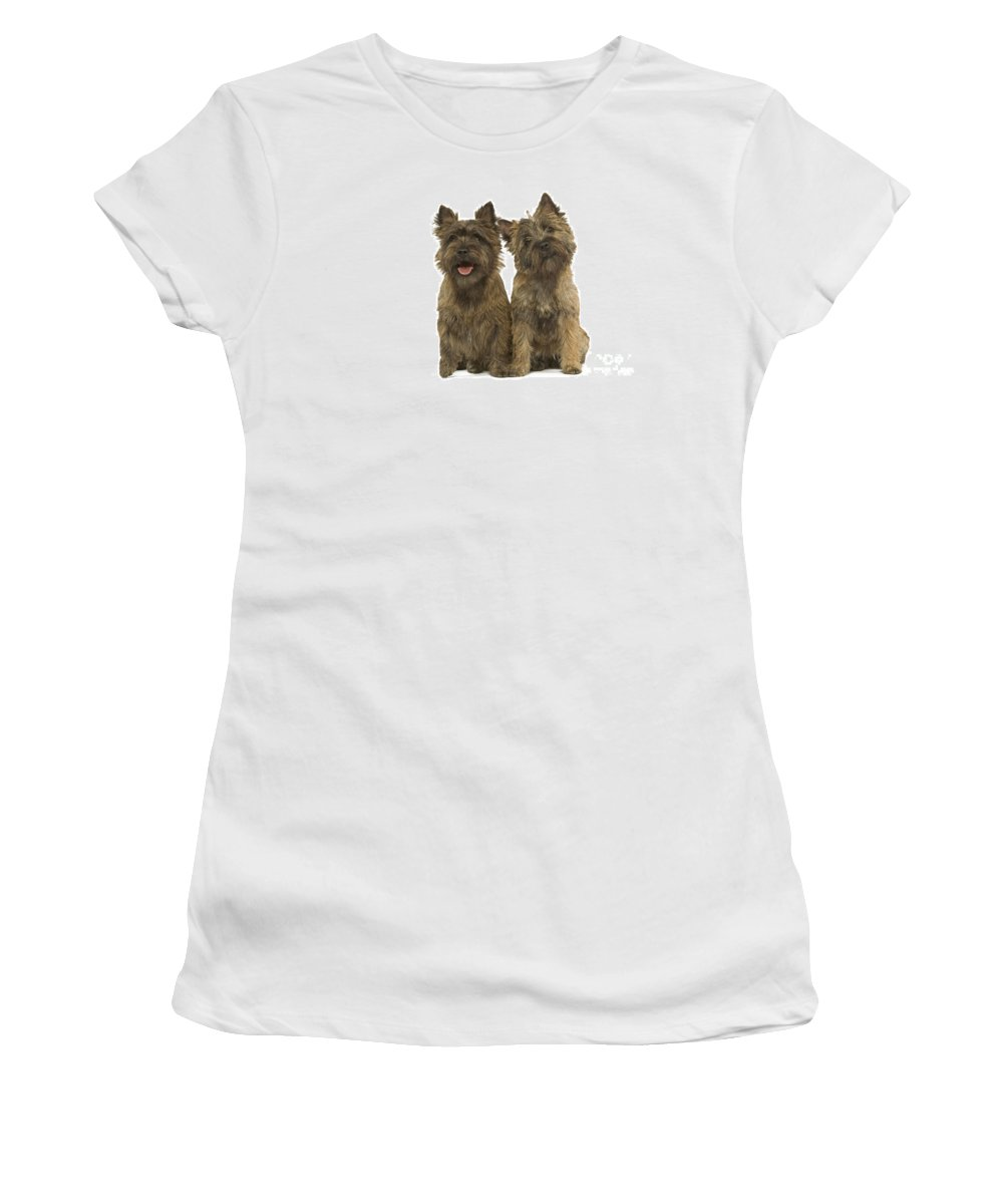 Cairn Terrier Women's T-Shirt (Athletic Fit) featuring the photograph Cairn Terriers by Jean-Michel Labat