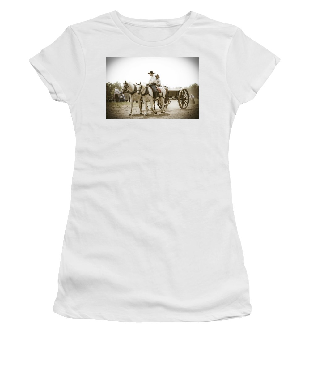 Horses Women's T-Shirt featuring the photograph Caison by Guy Shultz