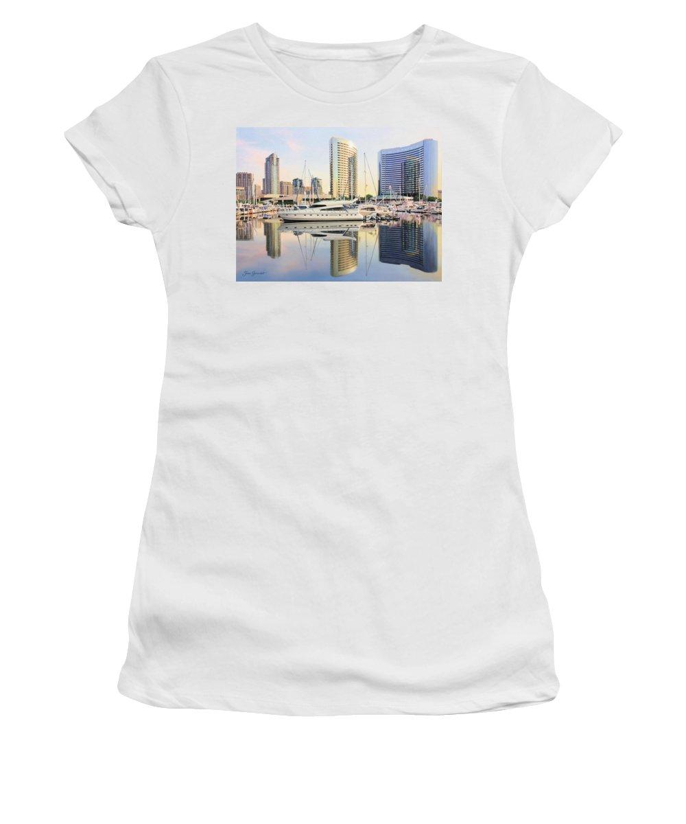 Marina Women's T-Shirt featuring the painting Calm Summer Morning by Jane Girardot