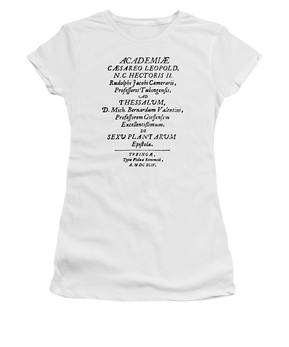 1694 Women's T-Shirt (Athletic Fit) featuring the painting Camerarius Title Page, 1694 by Granger