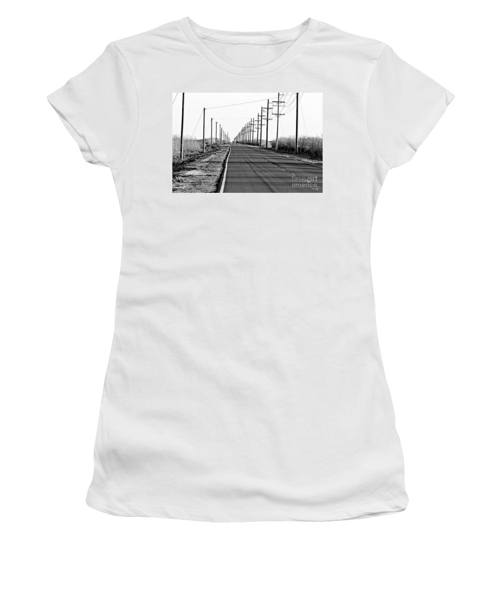 Black & White Women's T-Shirt (Athletic Fit) featuring the photograph Cameron Prairie Road by Scott Pellegrin