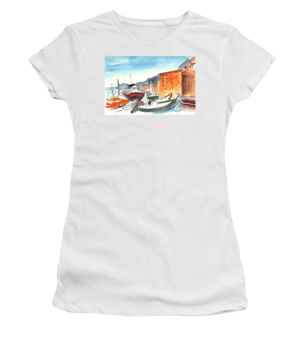 Italy Women's T-Shirt featuring the painting Camogli In Italy 02 by Miki De Goodaboom