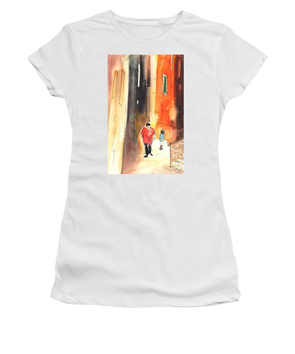 Italy Women's T-Shirt featuring the painting Camogli In Italy 07 by Miki De Goodaboom