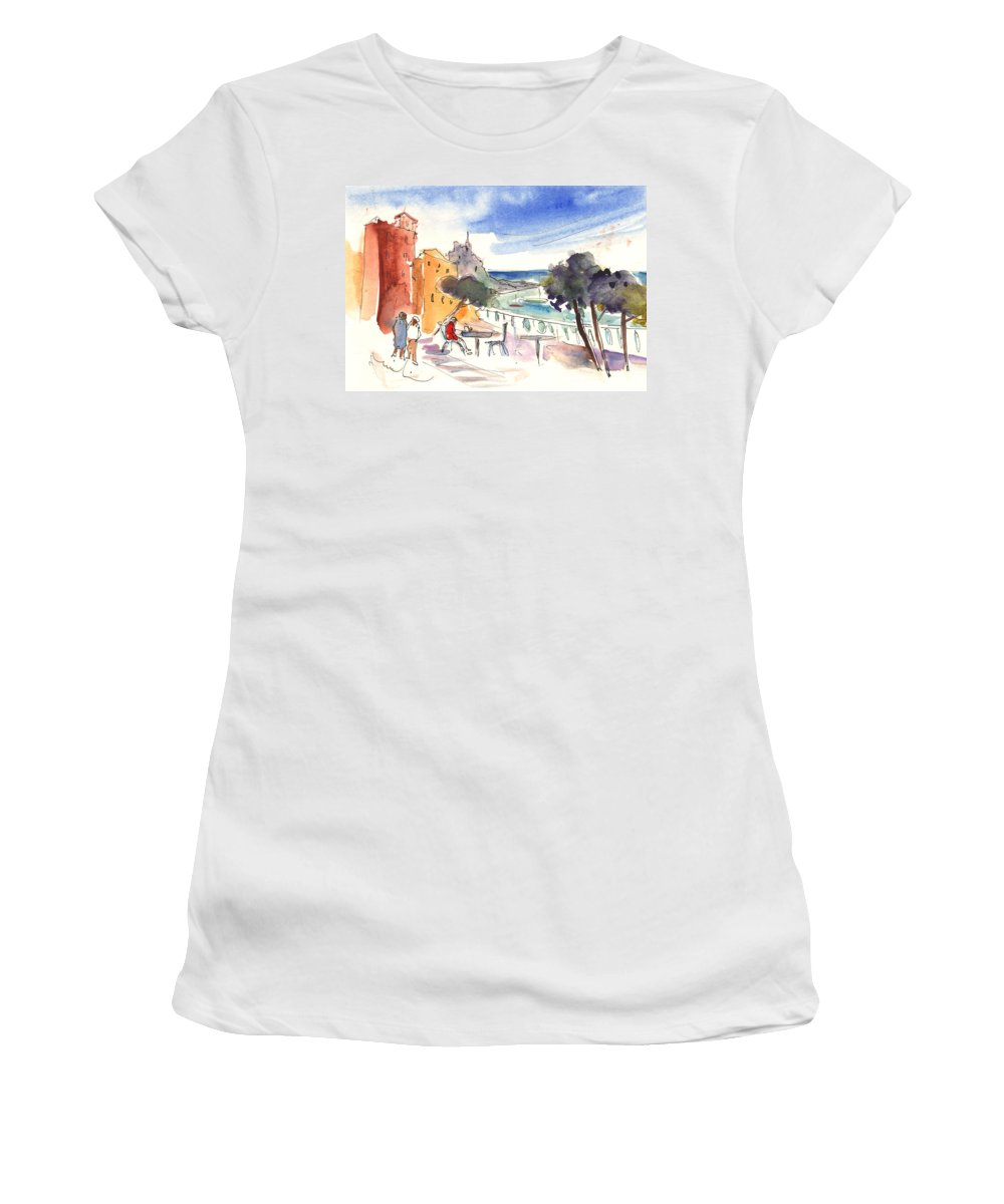 Italy Women's T-Shirt featuring the painting Camogli In Italy 08 by Miki De Goodaboom