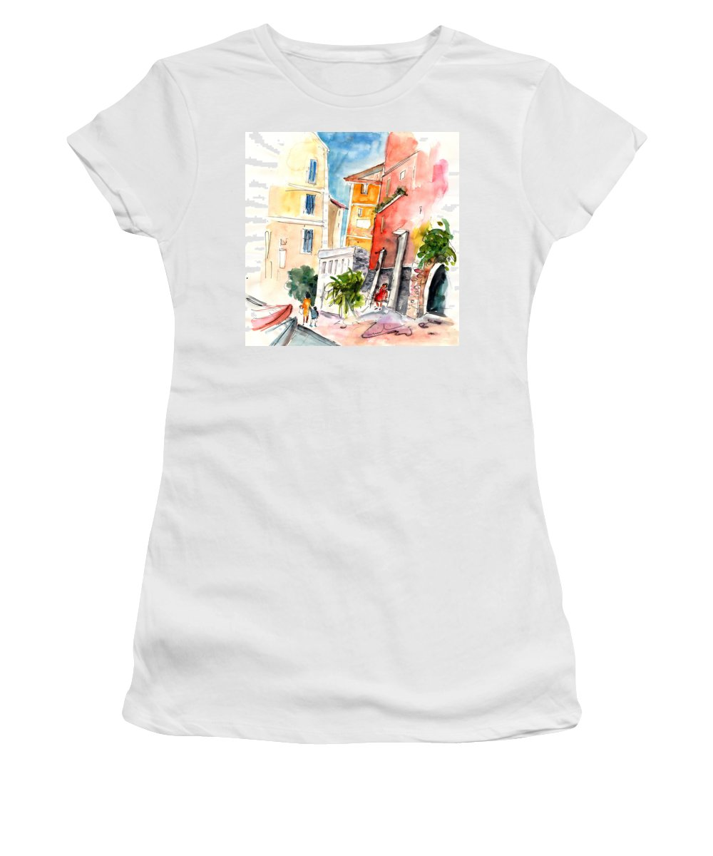Italy Women's T-Shirt featuring the painting Camogli In Italy 13 by Miki De Goodaboom