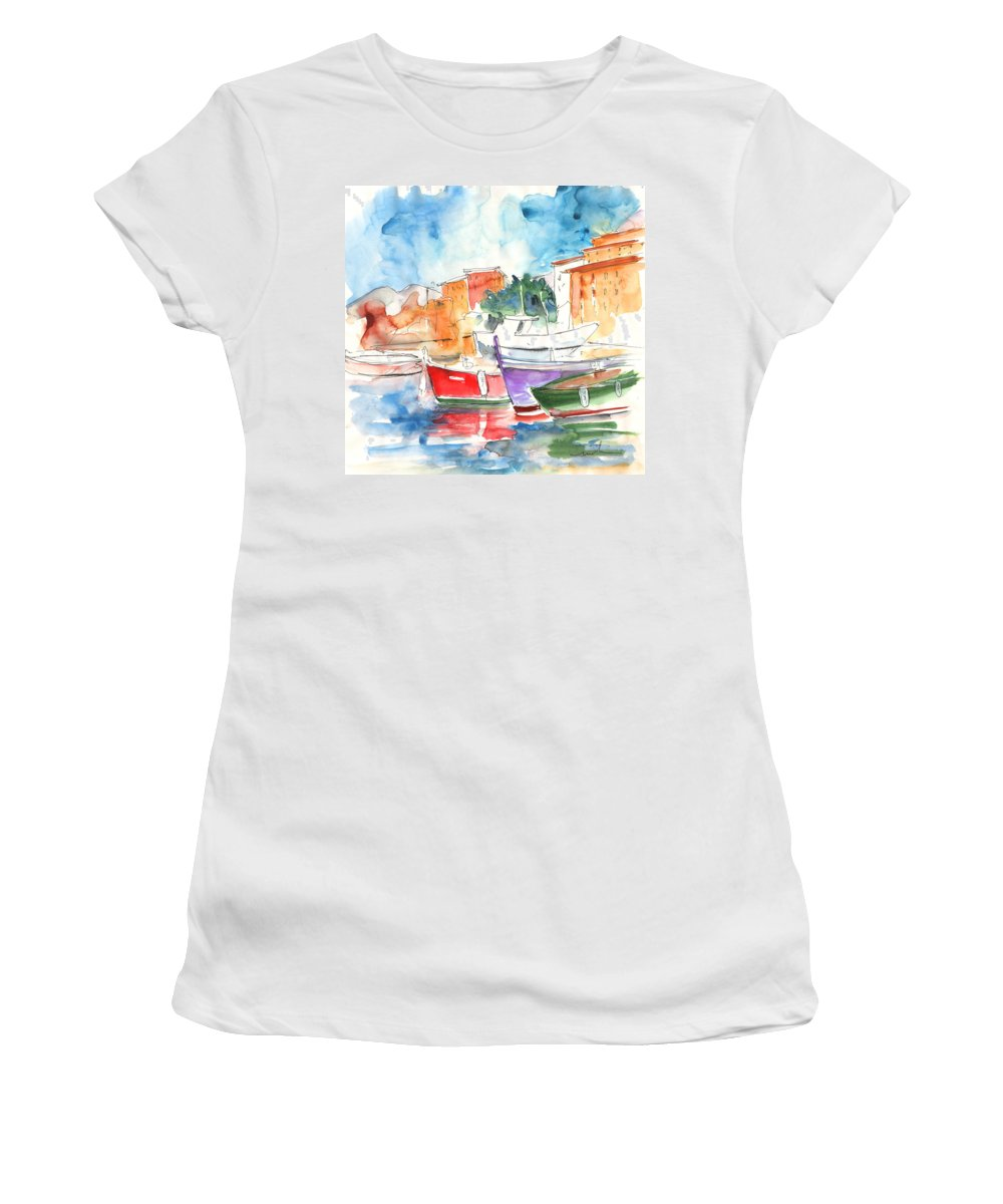 Italy Women's T-Shirt featuring the painting Camogli In Italy 14 by Miki De Goodaboom