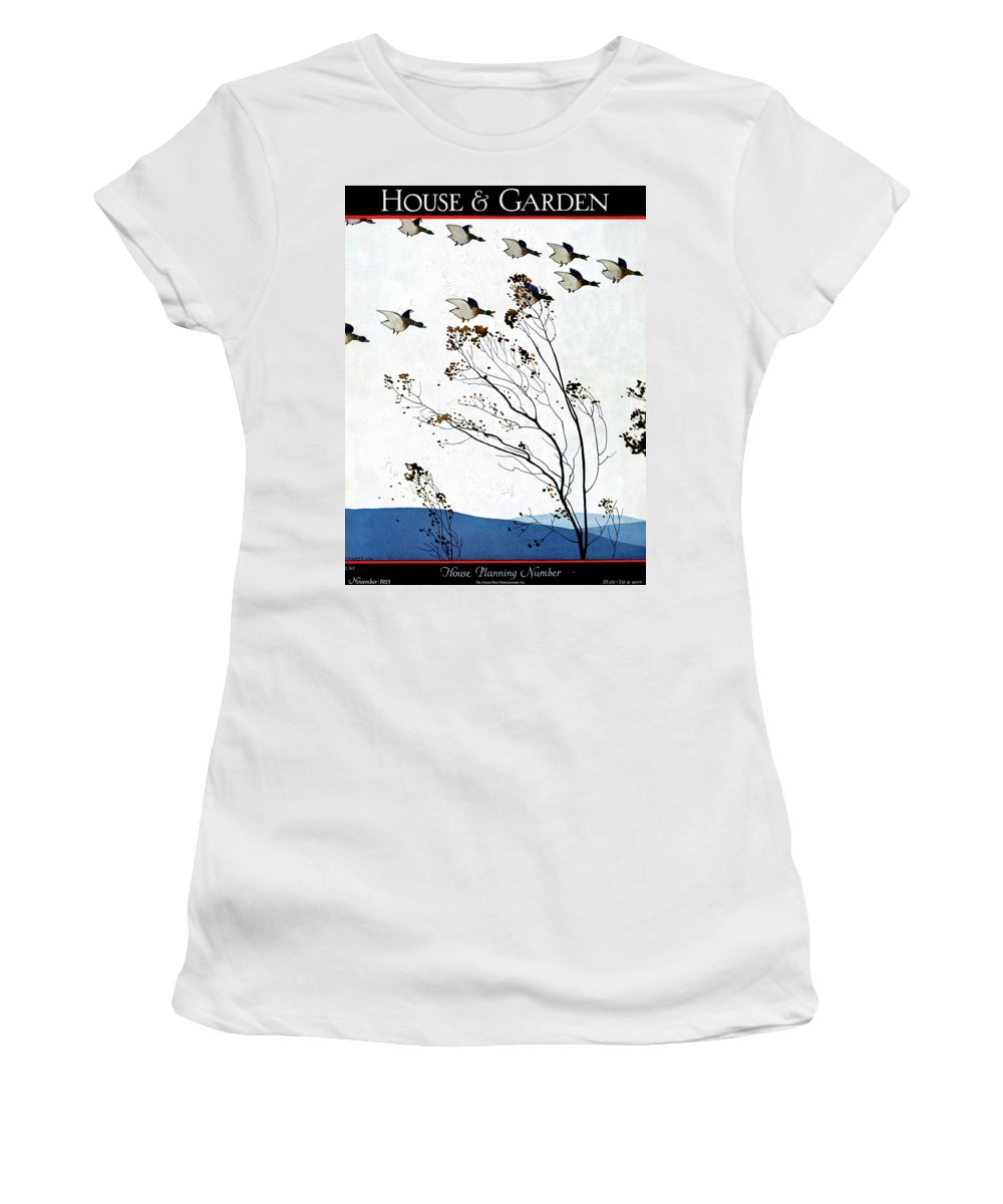 House And Garden Women's T-Shirt featuring the photograph Canadian Geese Over Brown-leafed Trees by Andre E. Marty