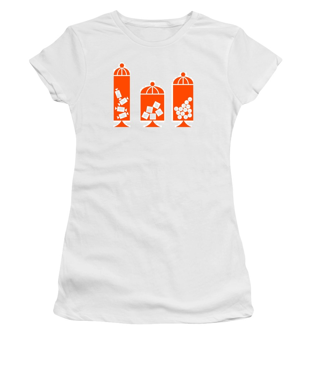 50s Women's T-Shirt featuring the digital art Canisters In Orange by Donna Mibus