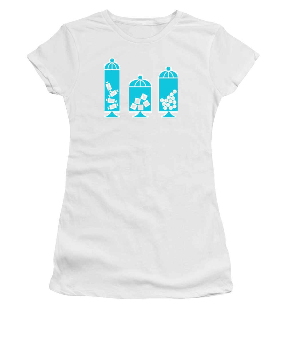 50s Women's T-Shirt featuring the digital art Canisters In Turquoise by Donna Mibus