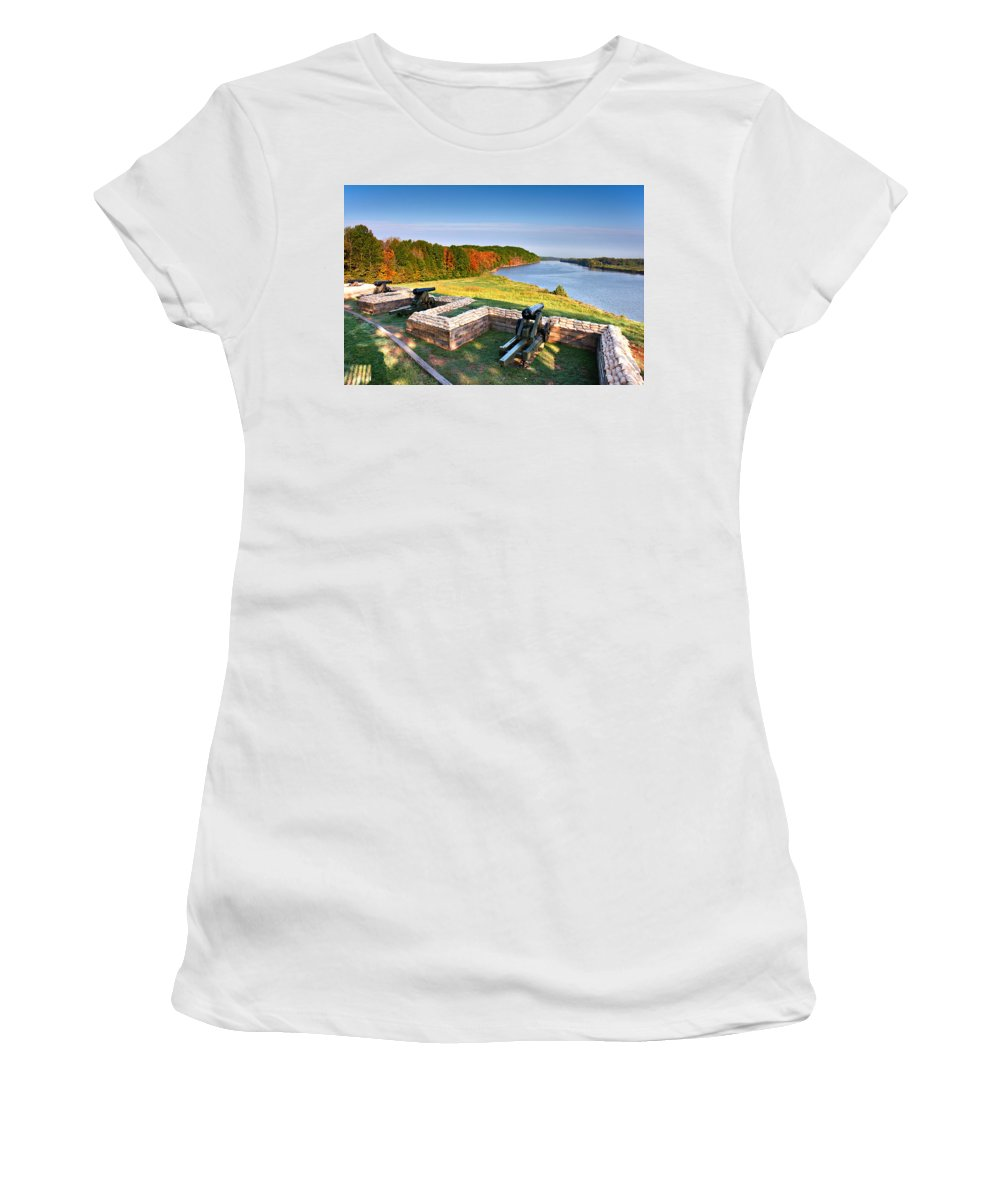 Fort Donelson Women's T-Shirt (Athletic Fit) featuring the photograph Cannons Overlooking The River by Mary Almond