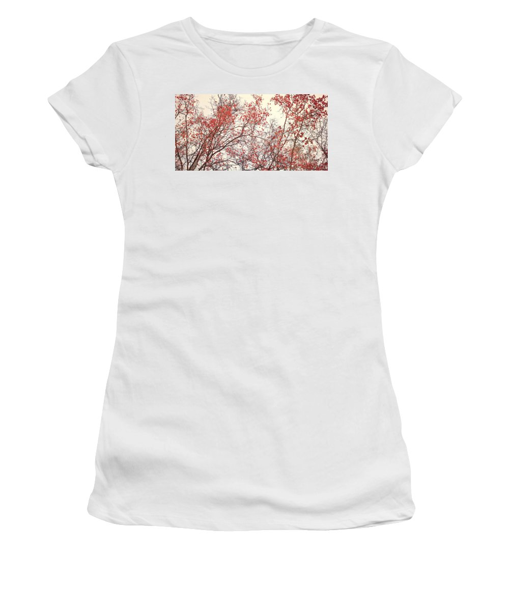 Red Women's T-Shirt featuring the photograph canopy trees II by Priska Wettstein
