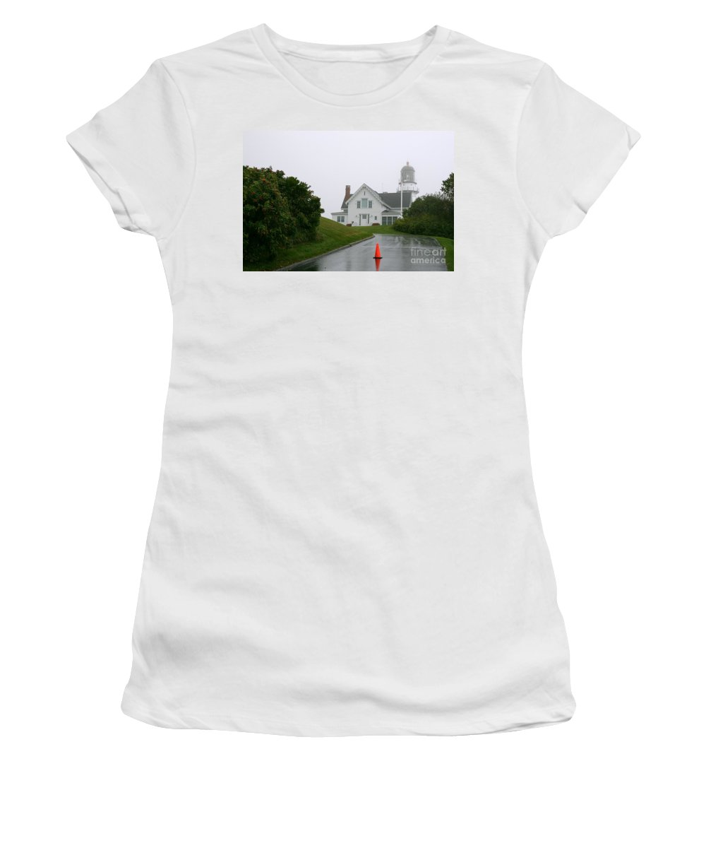 Lighthouse Women's T-Shirt featuring the photograph Cape Elizabeth On A Rainy Day- Maine by Christiane Schulze Art And Photography