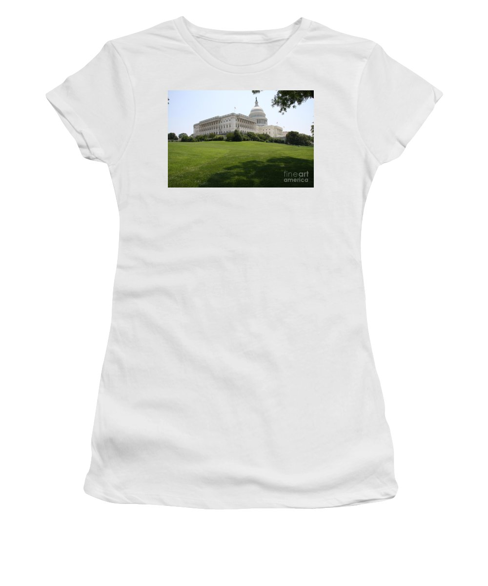 Capitol Women's T-Shirt (Athletic Fit) featuring the photograph Capitol Hill View Washington Dc by Christiane Schulze Art And Photography