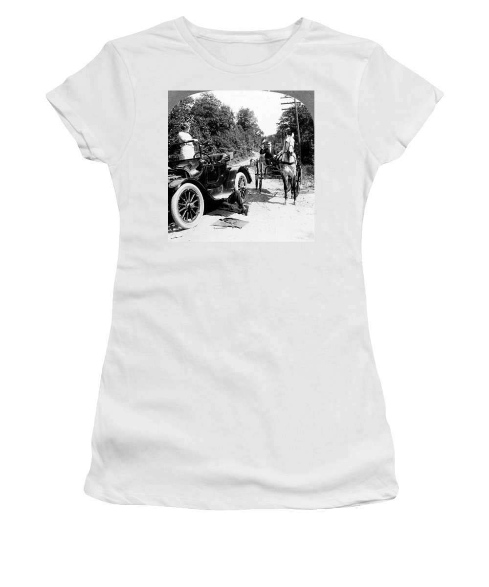 1914 Women's T-Shirt (Athletic Fit) featuring the photograph Car And Carriage, 1914 by Granger