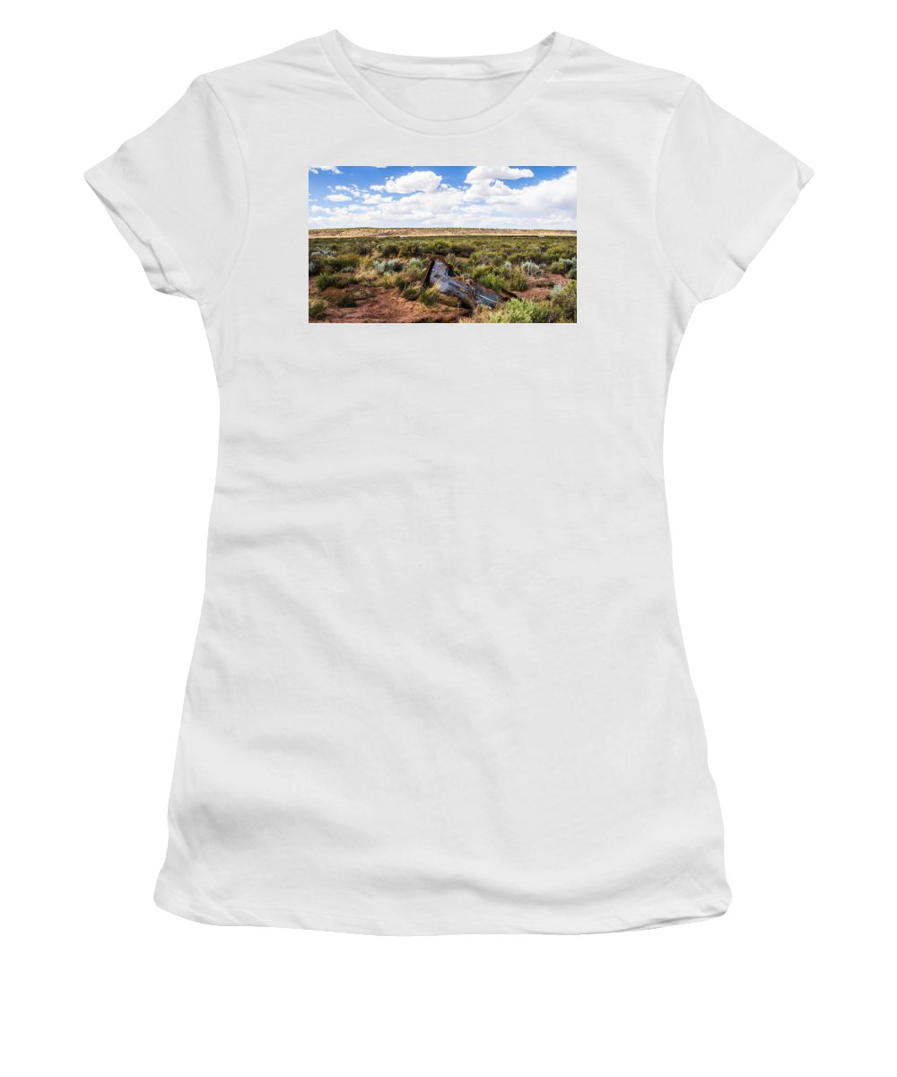 Route 66 Women's T-Shirt featuring the photograph Car Door In The Desert by Angus Hooper Iii