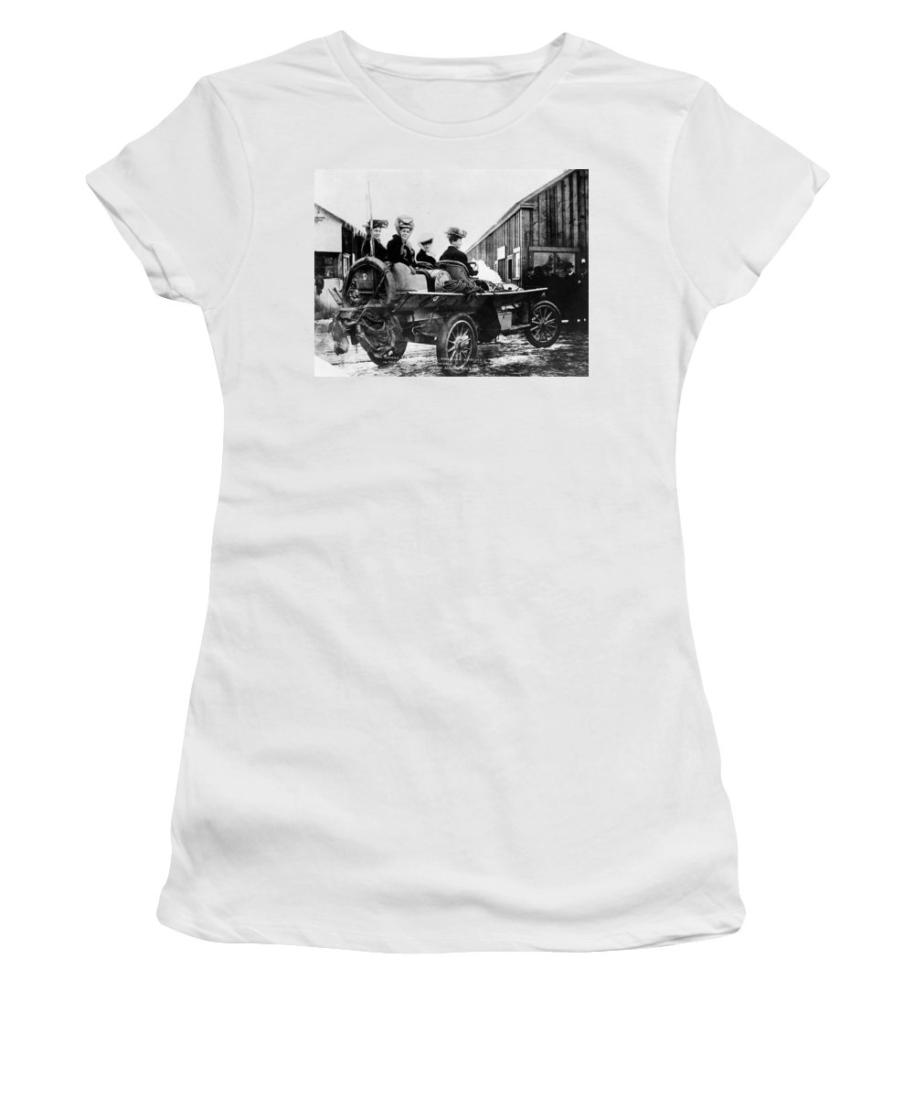 1908 Women's T-Shirt (Athletic Fit) featuring the photograph Car Race, 1908 by Granger