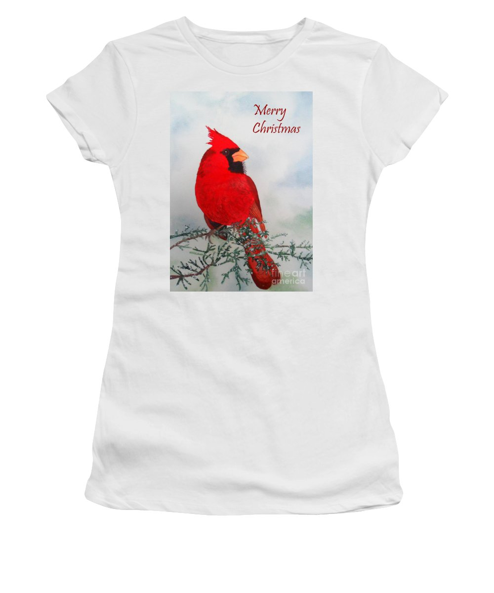 Red Women's T-Shirt featuring the painting Cardinal Merry Christmas by Laurel Best