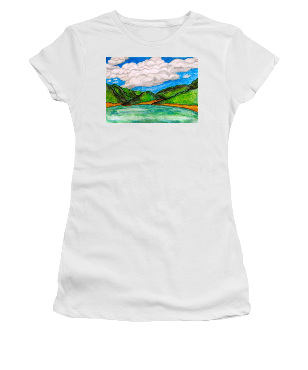 Caribbean Women's T-Shirt featuring the painting Caribbean by Anita Lewis