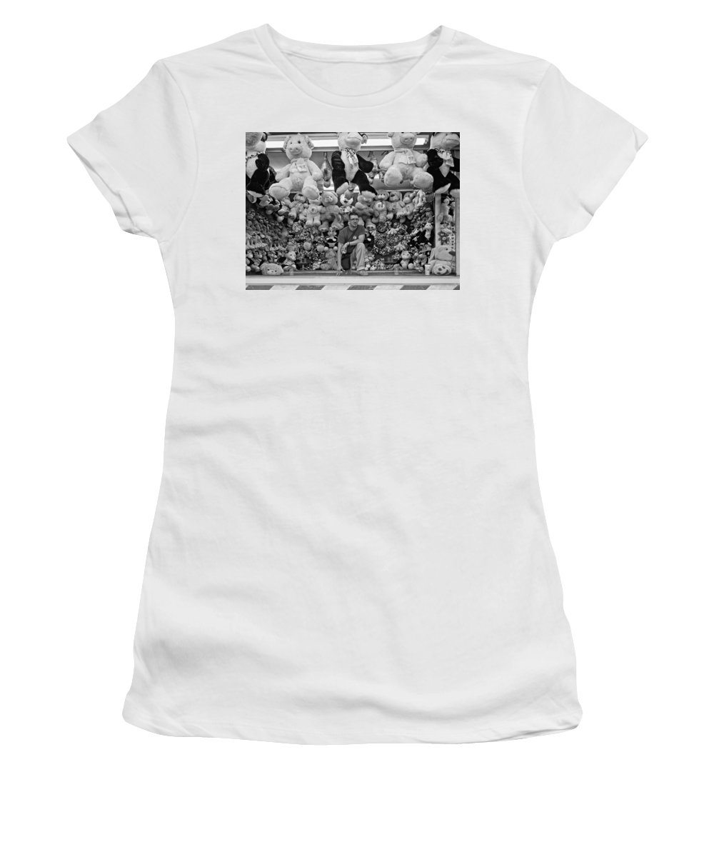 Bolton Fall Fair Women's T-Shirt (Athletic Fit) featuring the photograph Carny Worker Monchrome by Steve Harrington