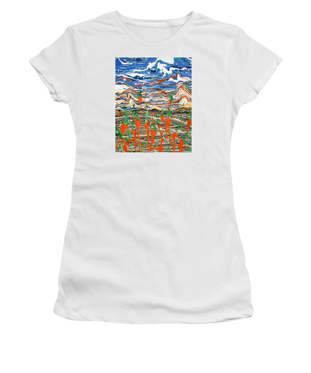 Psychedelic Women's T-Shirt (Athletic Fit) featuring the painting Carrots Dancing In The Sunrise by Ric Bascobert