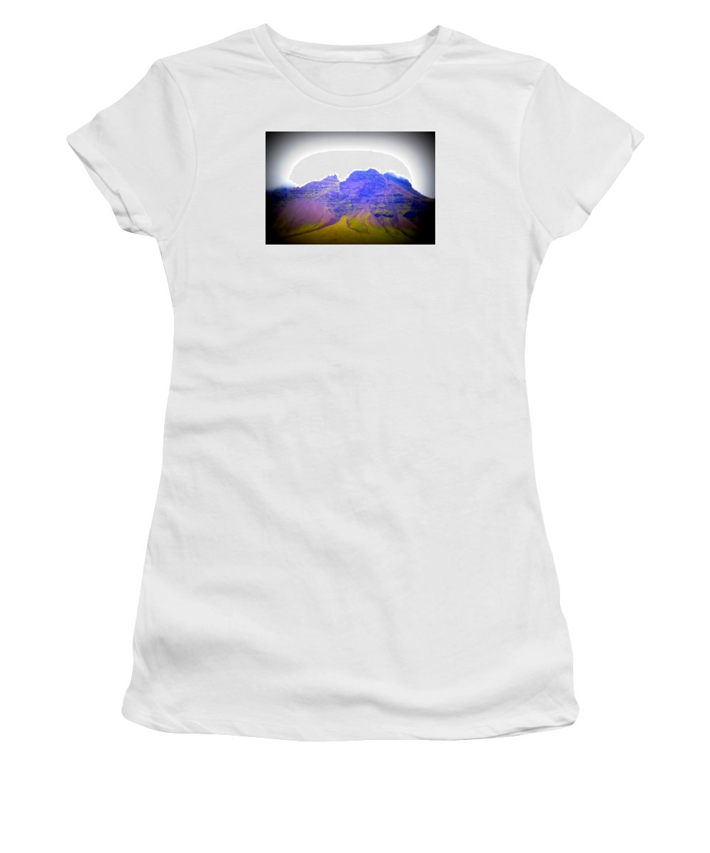 Mountain Women's T-Shirt (Athletic Fit) featuring the photograph I'm Old, So Carry Me Up To The Top And Leave Me There by Hilde Widerberg