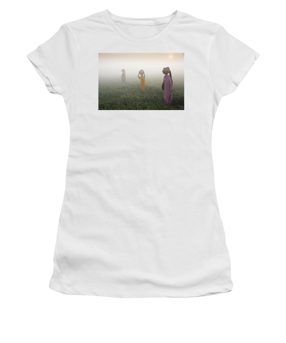 Asia Women's T-Shirt featuring the photograph Carrying Water On A Foggy Morn In India by Michele Burgess