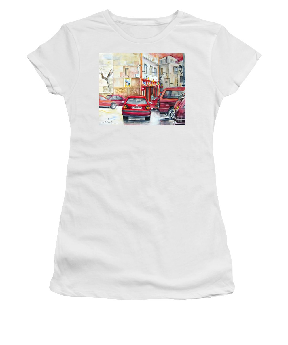Tarbena Painting Women's T-Shirt (Athletic Fit) featuring the painting Casa Pinet In Tarbena by Miki De Goodaboom