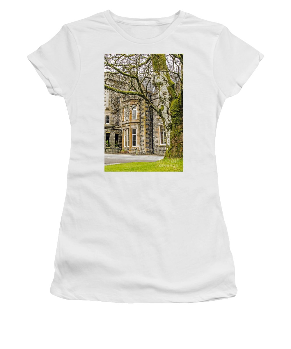 Travel Women's T-Shirt (Athletic Fit) featuring the photograph Castle Of Scottish Highlands by Elvis Vaughn